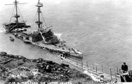 Postcard showing the walkway to the wrecked Montagu